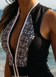 Sexy Vintage Skinny Fit Front Zipper Printed Swimsuit