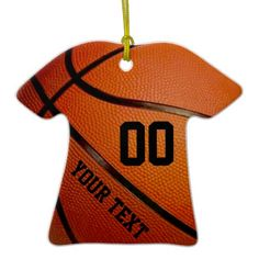 Name and Your Jersey Number Basketball Christmas Ornament for boys and girls who love the games. Type your text into text box templates or delete it. Great basketball team gifts for players or basketball Christmas gifts.