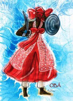 Orixá do rio Níger, terceira mulher de Xangô. Orixá, embora feminina, temida, forte, energética, considerada mais forte que muitos Orixás masculinos. OBÁ Divindade feminina, guerreira que às vezes é também citada como caçadora. Irmã de Óya (Iansã). Esposa de Ogum e, posteriormente, terceira e mais velha mulher de Xangô.