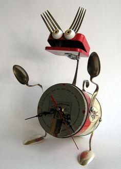 Upcycled ROBOT Sculpture Dog clock 3D art by BranMixArt, $85.00