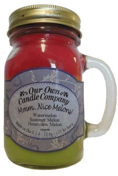 cool Mmm... Nice Melons! Watermelon, Cantaloupe, Honeydew Melon Scented 13 Ounce Mason Jar Candle By Our Own Candle Company