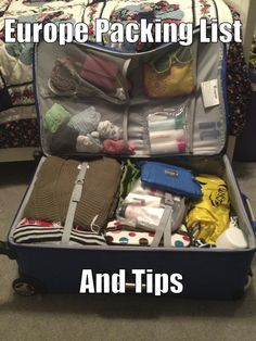 Packing tips and list for traveling Europe