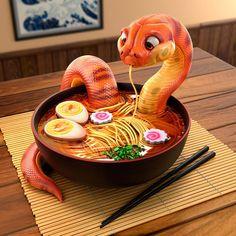 Cartoon Drawing Ideas Snake - Danger Noodles by michaelsantin Cute Fantasy Creatures, Mythical Creatures Art, Cute Creatures, Cute Food Drawings, Cute Animal Drawings, Kawaii Drawings, Snake Drawing, Snake Art, Comics Und Cartoons