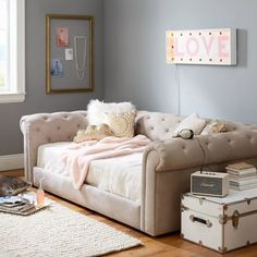 Cushy Roll-Arm Daybed | PBteen. The perfect place to lounge and sleep, this daybed is bursting with chic design. Rounded arms and classic tufting provide timeless details and vintage inspiration, for superior style and serious comfort.