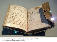 A notebook belonging to Leonardo da Vinci from 1490-3. In the colelctino of the V Museum in London.
