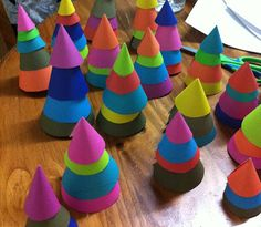 painted paper trees- love these! (trace circles in various sizes and cut and staple)