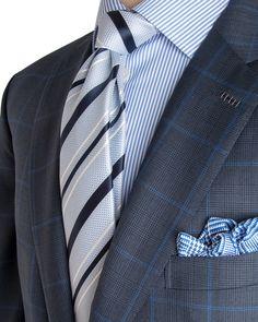 Brioni | Navy and Blue Plaid Suit | Apparel | Men's