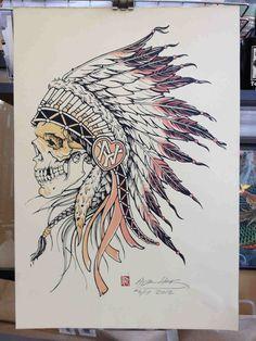 Native Headdress Art Print by Derrick Castle Indian Chief Tattoo, Indian Skull Tattoos, Skull Tattoo Design, Tattoo Designs, Tattoo Ideas, Phenix Tattoo, Indian Drawing, American Tattoos, Badass Tattoos