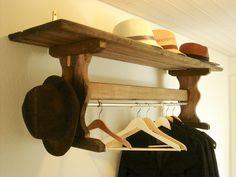 upcycled bench turned coat rack