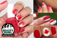 With Canada Day just around the corner, it's time to start planning those red and white outfits! Whether you& spending the long weekend at the cottage or Red Nail Art, Cool Nail Art, Red Nails, Hair And Nails, Canada Day Party, Red And White Nails, Flag Nails, Lip Wallpaper, Nail Art For Kids