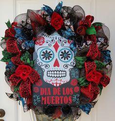 Large Day Of The Dead Mesh Wreath, Dia De Los Muertos Wreath, Catrina Wreath, Halloween Mesh Wreath, Door Decoration, Halloween Door Hannger by ProudToHangWreaths on Etsy