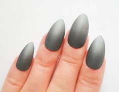 24 Matte Stiletto Nails, Fake Nails, Almond Nails, False Nails, Acrylic Nails, Press on, Nails, Gunmetal, Grey, Gray, Matte