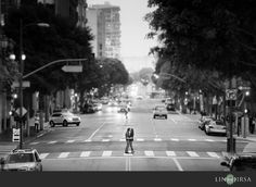 Downtown Los Angeles Engagement | Michael & Gina                     Love the zoomed out cityscape shot.