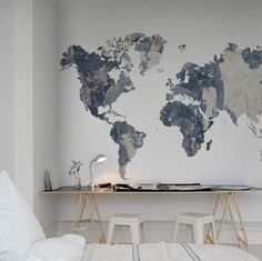 Rebel Walls - Maps - Your Own World, Battered Wall Mural - Paper Room My New Room, My Room, Room Wallpaper, Wallpaper Ideas, Office Wallpaper, World Map Wallpaper, Diy Bedroom Decor, Home Decor, Wall Murals