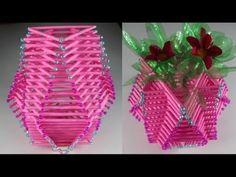 কাগজের কাঠি দিয়ে খুব সুন্দর ফুলদানি বানানো শিখুন - Make Amazing Flower . Paper Flower Vase, Paper Vase, Tissue Paper Flowers, Flower Vases, Vase Crafts, Easy Paper Crafts, Diy Arts And Crafts, Handmade Crafts, Newspaper Craft Basket