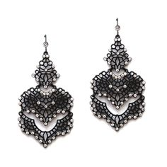 Top Selling Matte Black Filigree Statement Earrings for Prom