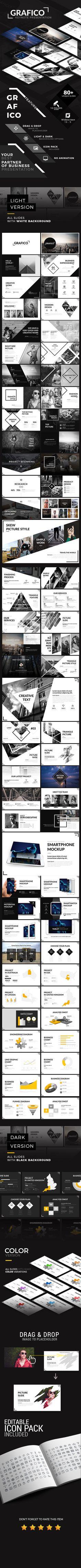 Grafico Keynote Presentation Template - Creative #Keynote #Templates Download here: https://graphicriver.net/item/grafico-keynote-presentation-template/19743917?ref=alena994