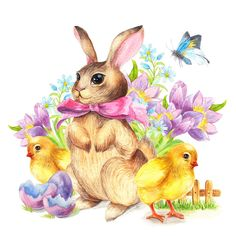 Photo about Greeting card Bunny and chicken vintage watercolor. Illustration of background, chick, character - 84343039