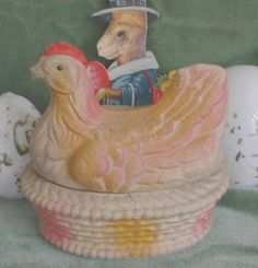 Very cute 1920's paper mache hen - on etsy