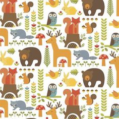 """Forest Friends in Multi.£3.40 Fat quarters From the 'Forest Parade' collection by Petit Collage for Windham fabrics. Sold by the fat quarter metre, which measures 50cm x 56cm. Collection: Forest Parade Designer: Petit Collage Manufacturer: Windham fabrics Weight: quilting Content: 100% cotton, organic Width: 112cm / 44"""""""