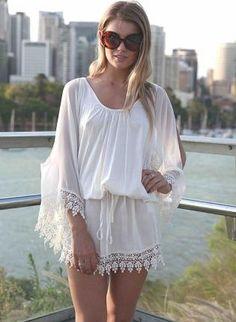 White Kaftan Dress with Crochet Hem and Sleeves,  Dress, crochet dress  mini dress, Casual
