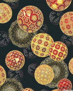 Christmas in Kyoto - Temari Ornaments - Black/Gold Japanese Textiles, Japanese Patterns, Japanese Fabric, Japanese Prints, Japanese Design, Motifs Textiles, Textile Patterns, Textile Art, Print Patterns