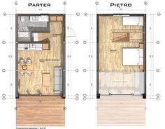 Modułowy dom z antresolą z dachem dwuspadowym bez pozwolenia Minimal House Design, Tiny House Design, Prefabricated Houses, Prefab Homes, Tiny House Cabin, Small House Plans, Cottage House Designs, Glass Cabin, Casa Loft