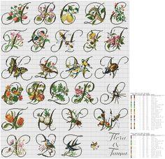 Cross stitch / Point de croix / Punto de cruz / Punto croce - Flora & Fauna Alphabet / abécédaire / abecedario / alfabeto (PAKO)
