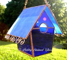 Stained Glass Birdhouse - Blue with Copper Swirls - Handmade