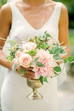 Café au lait blush dahlias and roses