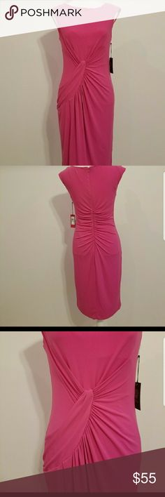VINCE CAMUTO Pink Ruched Dress SIZE 8 A very pretty pink dress with side ruching, jersey material, sleeveless. Ruching details in back. Vince Camuto Dresses