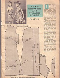 barbie doll A-line skimmer and frilled dress pattern