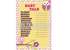Owl Baby Shower Game, Pink Owl Baby Shower for Girl, Instant Download Baby Shower Game, Printable Word Scramble Game on Etsy, $5.50