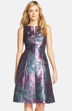 Adrianna Papell Metallic Jacquard Fit & Flare Dress (Regular & Petite) available at Lovely Dresses, Modest Dresses, Vintage Dresses, Dresses For Work, Formal Dresses, African Fashion Dresses, African Dress, Dress Fashion, Fit Flare Dress