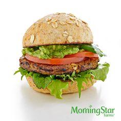 The Cilantro-Avocado Burger – made with 110-calorie MorningStar Farms® Mediterranean Chickpea Burger.