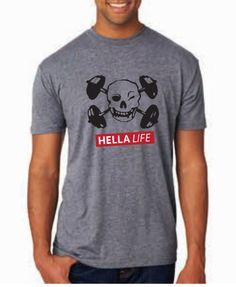 The Skull Collection Men's HL Classic Skull Tee back in stock  http://hellalife.com - HL Skull Collection Men's T-Shirt - Gray, $25.00 (http://www.hellalife.com/products/hl-skull-collection-mens-t-shirt-gray.html)  #Skulls #Crossbones #Fitness #CrossFit #HellaLife
