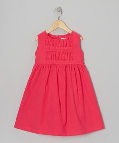 Take a look at this Hot Pink Ruched Corduroy Dress - Infant & Toddler by Alouette on #zulily today!