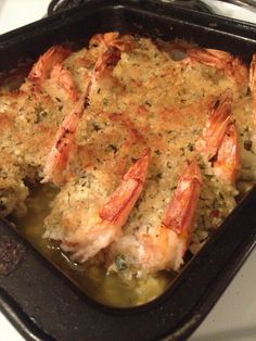 Baked Shrimp Scampi Ingredients: 2 lbs small shrimp or large shrimp, uncooked, in shell 3 tablespoons extra Shrimp Dishes, Fish Dishes, Shrimp Recipes, Fish Recipes, Great Recipes, Dinner Recipes, Favorite Recipes, Main Dishes, Recipies