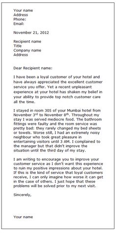Restaurant complaint letter did you recently have a bad complaint letter sample spiritdancerdesigns Choice Image