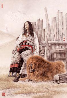 Тибетские мастифы. Арт : sobaka_ru Chinese Painting, Chinese Art, Tibetan Mastiff, Giant Dogs, Tibetan Art, Wildlife Paintings, World Pictures, Cool Pets, Dog Art