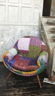 Crescent chair in handstitched Hindustani sari fabrics - Plümo Ltd