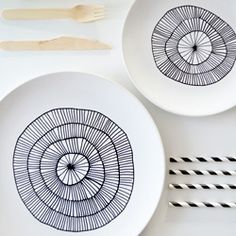 DIY Plates Painted With Porcelain Pen
