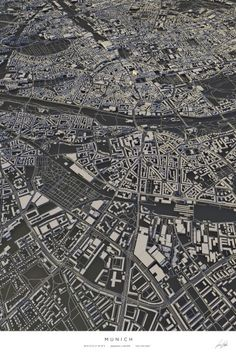 Munich city map Art Print by Luis Dilger - X-Small Masterplan, City Layout, Art Carte, Poster Online, Abstract City, Architecture Images, Picture Albums, Shops, City Illustration