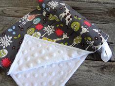 Gender Neutral Baby Minky Security Blanket-Michael Miller Giraffe Garden on Etsy, $16.00