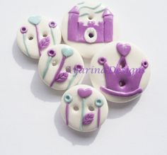 Princess Castle  polymer clay buttons by ayarina on Etsy, $9.50