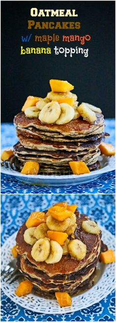 Oatmeal Almond Pancakes with Maple Mango Banana Topping © Jeanette's Healthy Living #breakfast #brunch #glutenfree #pancakes #almondflour
