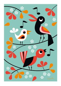 "Blå Gungan - webshop design & crafts - Poster Ingela P Arrhenius ""Kvitter"" cm Kids Poster, New Poster, Illustrator, Affinity Designer, Bird Illustration, Bird Prints, Flat Design, Bird Art, Illustrations Posters"