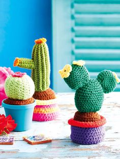Enchant the guests at your Mexican-themed feast by crocheting a selection of these quirky cactuses.