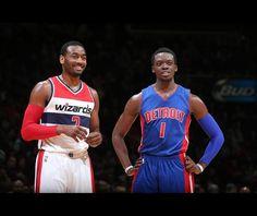 John Wall de la Washington Wizards și Reggie Jackson de la Detroit Pistons, în timpul meciului din 28 februarie 2015, la Verizon Center în Washington, DC.  Sursa: Ned Dishman/NBAE/Getty Images via NBA
