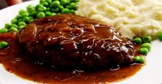 Salisbury Steak + brown onion gravy: gd beef 1 egg 1 T tomato paste 1 T yellow mustard 2 T Worcestershire sauce ½ tsp garlic powder ¼ c dry breadcrumbs ½ tsp black pepper kosher salt Homemade Salisbury Steak, Salisbury Steak Recipes, Sauce Steak, Meat Recipes, Cooking Recipes, Top Recipes, Hamburger Steak Recipes, Delicious Recipes, Recipies